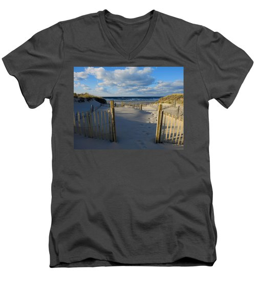 Golden Hour Beach Men's V-Neck T-Shirt by Dianne Cowen