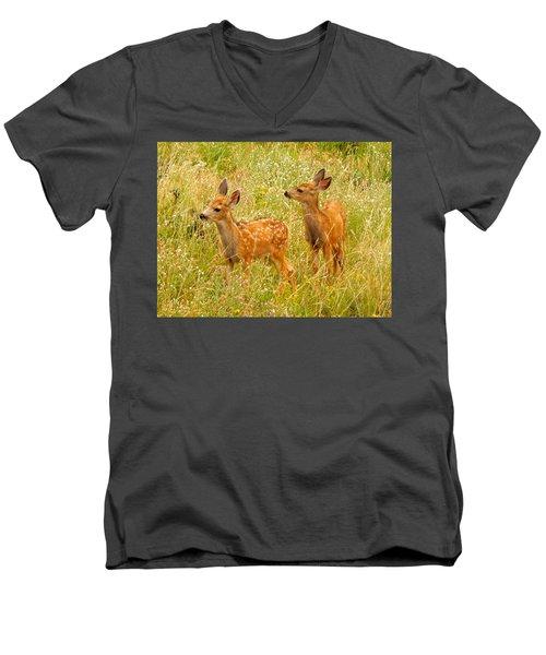 Twin Fawns Men's V-Neck T-Shirt by Dan Miller