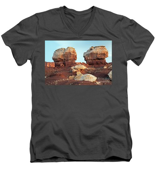 Twin Rocks At Sunrise Capitol Reef National Park Men's V-Neck T-Shirt