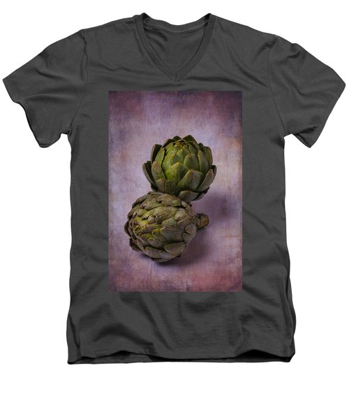 Two Artichokes Men's V-Neck T-Shirt by Garry Gay