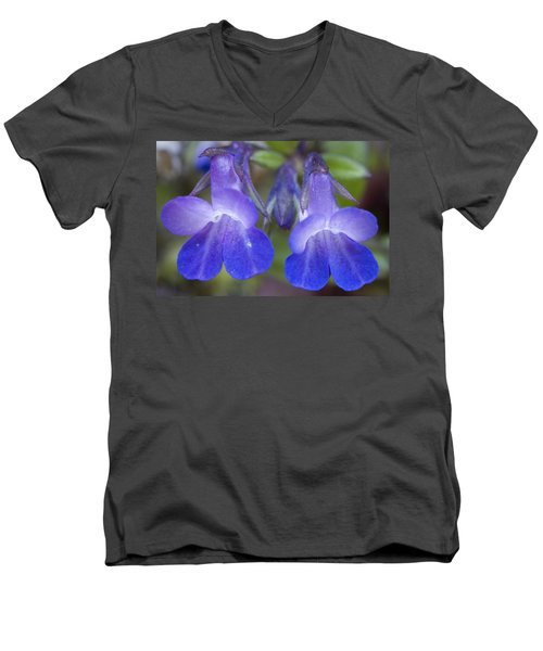 Men's V-Neck T-Shirt featuring the photograph Two Blue by Sonya Lang