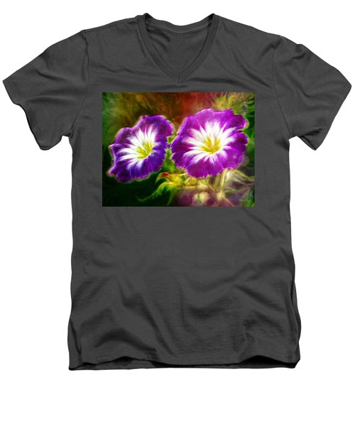 Two Eyes Of Heaven Men's V-Neck T-Shirt by Lilia D