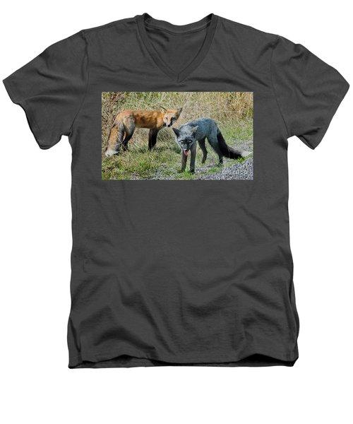 Two Fox Seattle Men's V-Neck T-Shirt by Jennie Breeze