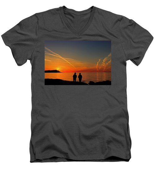 Two Friends Enjoying A Sunset Men's V-Neck T-Shirt