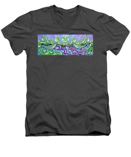 Two Gray Whales Men's V-Neck T-Shirt by Debbie Chamberlin