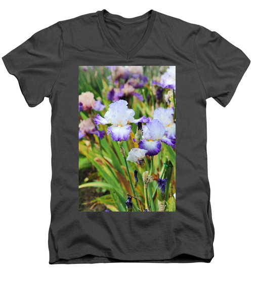 Men's V-Neck T-Shirt featuring the photograph Two Iris by Patricia Babbitt
