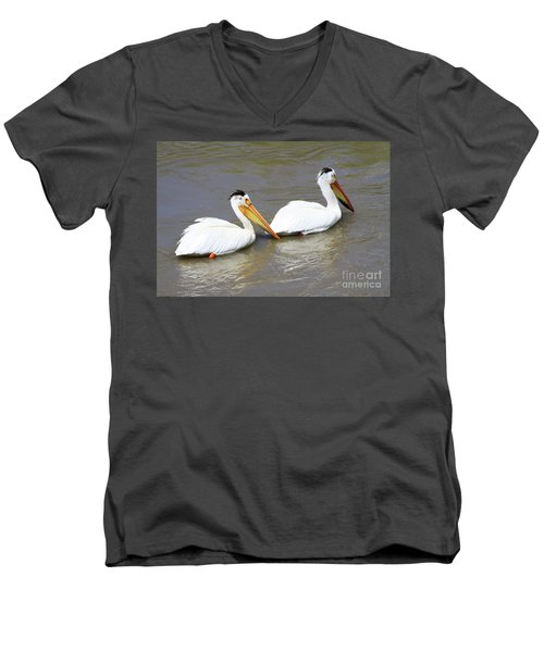 Two Pelicans Men's V-Neck T-Shirt