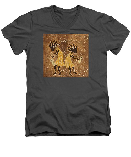 Two Sax Players Men's V-Neck T-Shirt by Katherine Young-Beck