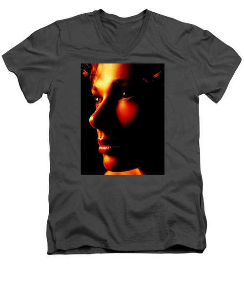 Two Tone Portrait Men's V-Neck T-Shirt by Richard Thomas