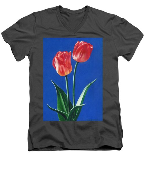 Two Tulips Men's V-Neck T-Shirt by Janice Dunbar