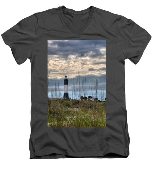Tybee Light Men's V-Neck T-Shirt by Peter Tellone