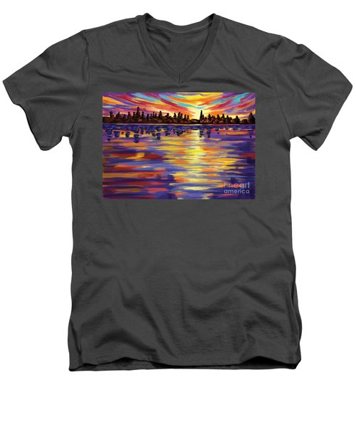 Men's V-Neck T-Shirt featuring the painting Tyler's Sunrise by Tim Gilliland