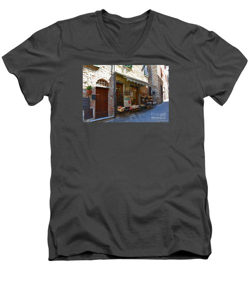 Men's V-Neck T-Shirt featuring the photograph Typical Small Shop In Tuscany by Ramona Matei
