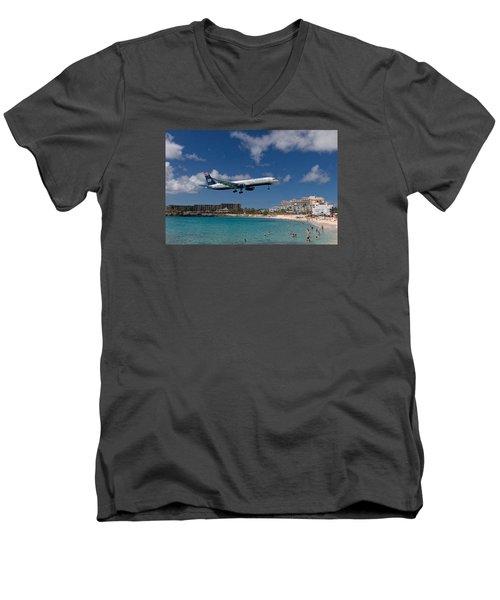 U S Airways Low Approach To St. Maarten Men's V-Neck T-Shirt by David Gleeson