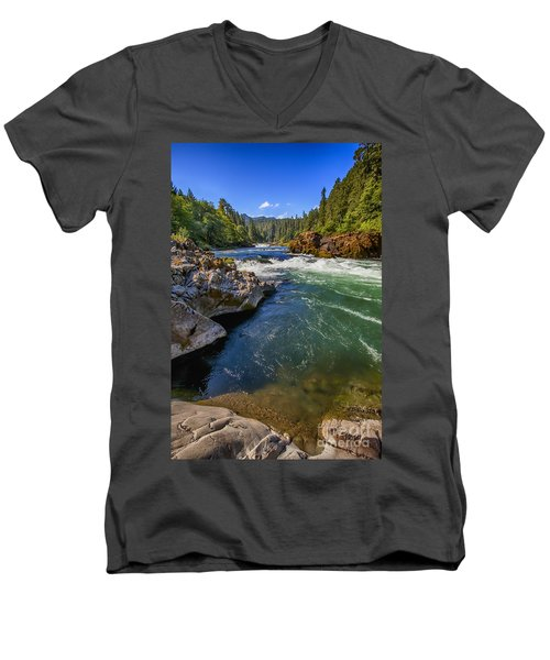 Umpqua River Men's V-Neck T-Shirt by David Millenheft
