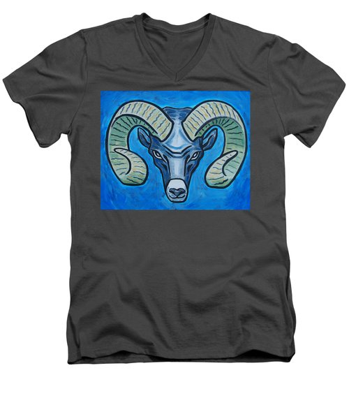 Ram With Sky Blue Men's V-Neck T-Shirt