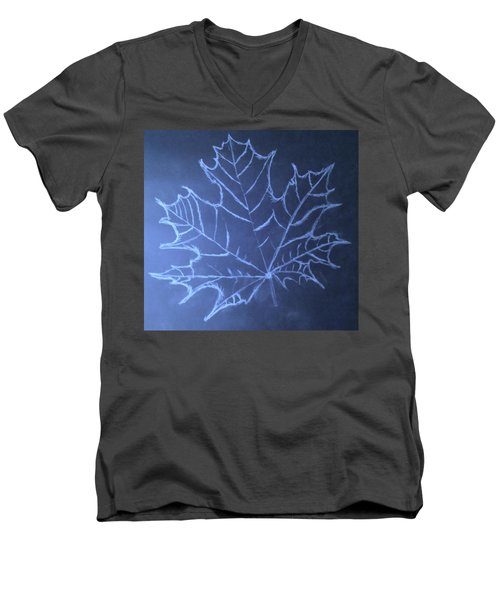Men's V-Neck T-Shirt featuring the drawing Uncertaintys Leaf by Jason Padgett