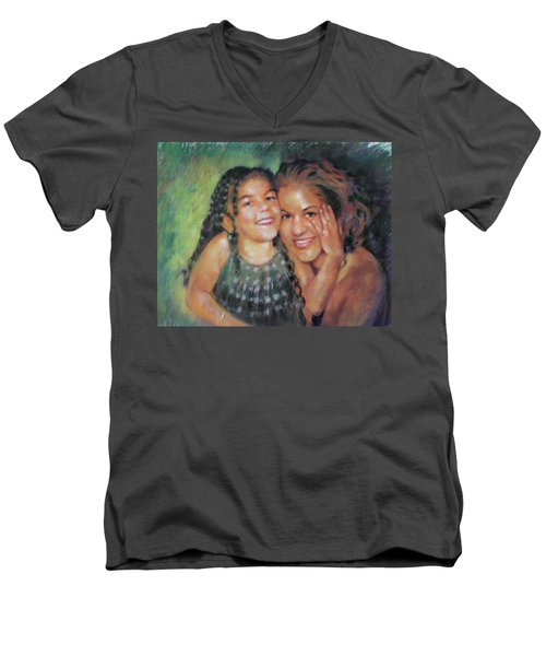 Men's V-Neck T-Shirt featuring the drawing Unconditional Love by Viola El