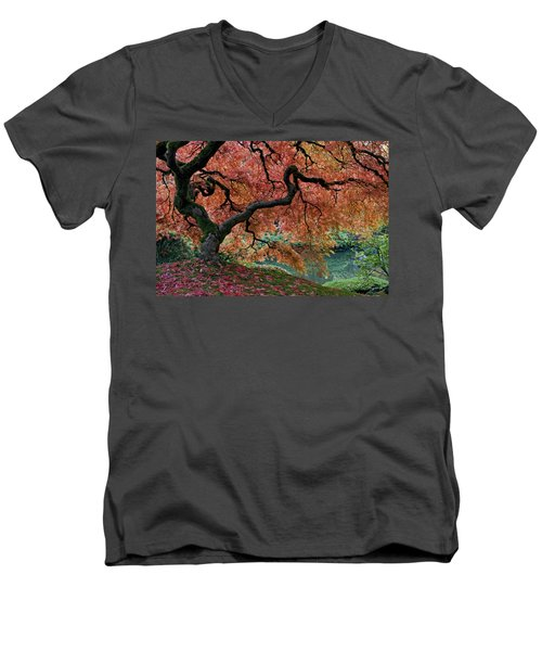 Under Fall's Cover Men's V-Neck T-Shirt by Wes and Dotty Weber