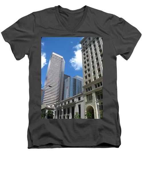 Under Seattle Blue Men's V-Neck T-Shirt by David Trotter
