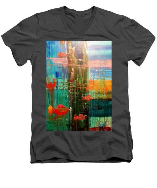 Under The Dock Men's V-Neck T-Shirt by Renate Nadi Wesley