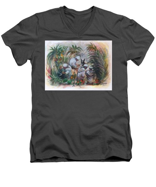Men's V-Neck T-Shirt featuring the painting Under The Palm Trees At The Oasis by Laila Awad Jamaleldin