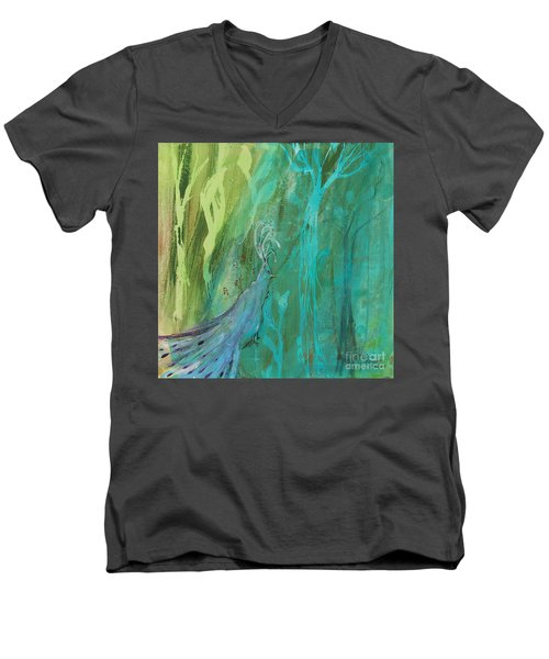 Men's V-Neck T-Shirt featuring the painting Undercover Peacock by Robin Maria Pedrero