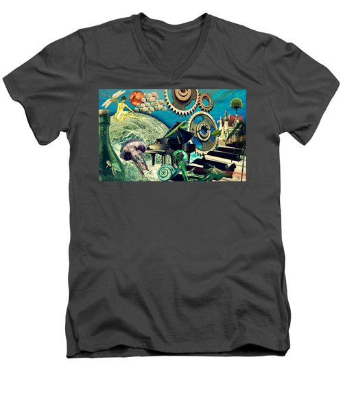 Men's V-Neck T-Shirt featuring the digital art Underwater Dreams by Ally  White
