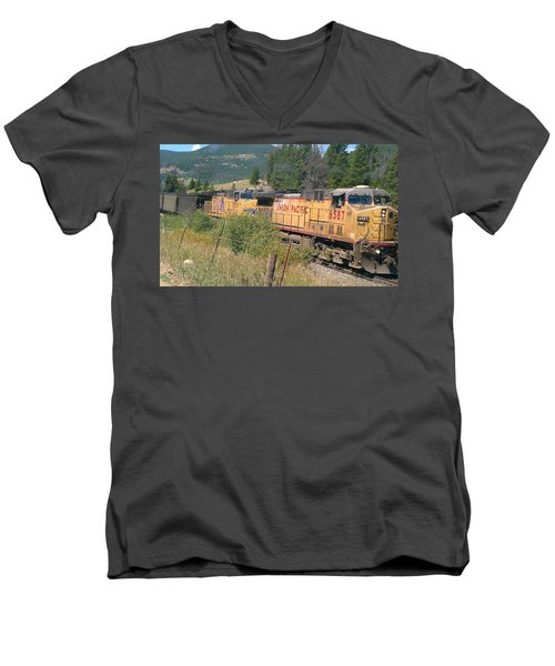 Men's V-Neck T-Shirt featuring the photograph Union Pacific 6587 by Fortunate Findings Shirley Dickerson