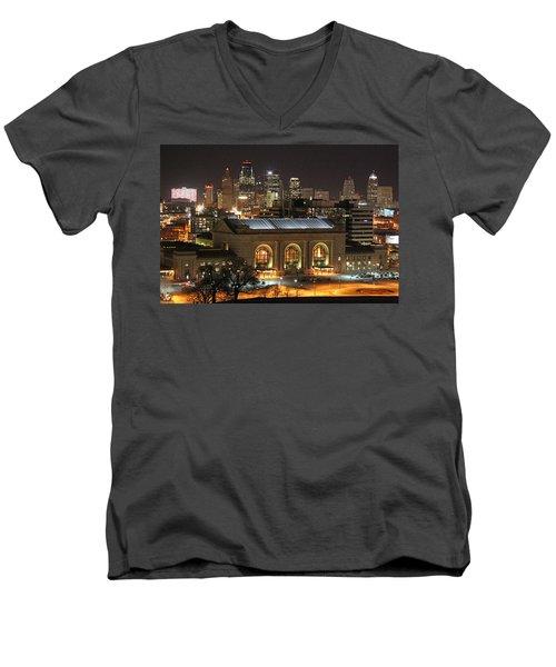 Union Station At Night Men's V-Neck T-Shirt by Lynn Sprowl