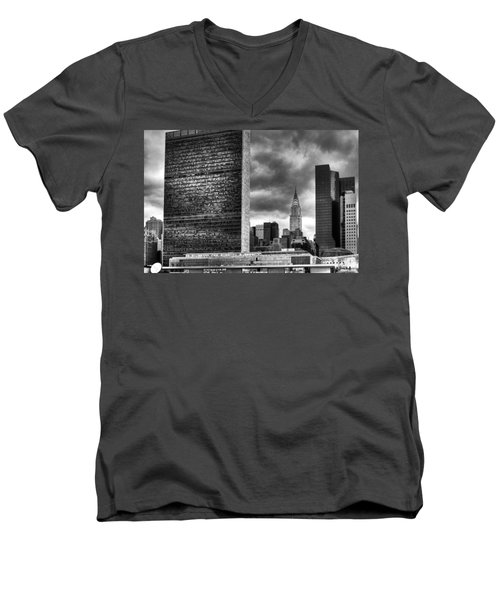United Nations And Chrysler Building Men's V-Neck T-Shirt