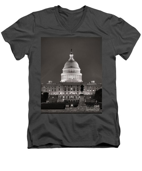 United States Capitol At Night Men's V-Neck T-Shirt
