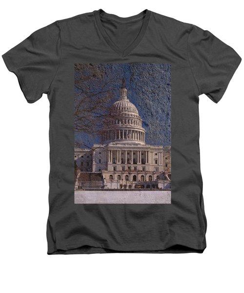 United States Capitol Men's V-Neck T-Shirt by Skip Willits