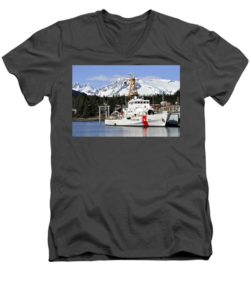 United States Coast Guard Cutter Liberty Men's V-Neck T-Shirt by Cathy Mahnke