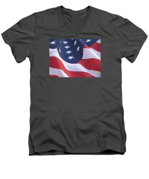 Men's V-Neck T-Shirt featuring the photograph United States Flag  by Chrisann Ellis