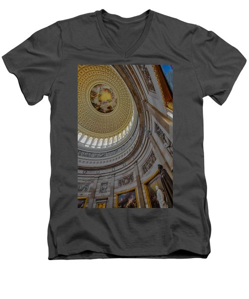 Unites States Capitol Rotunda Men's V-Neck T-Shirt by Susan Candelario