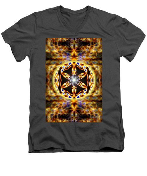 Men's V-Neck T-Shirt featuring the drawing Universal Heart Fire by Derek Gedney