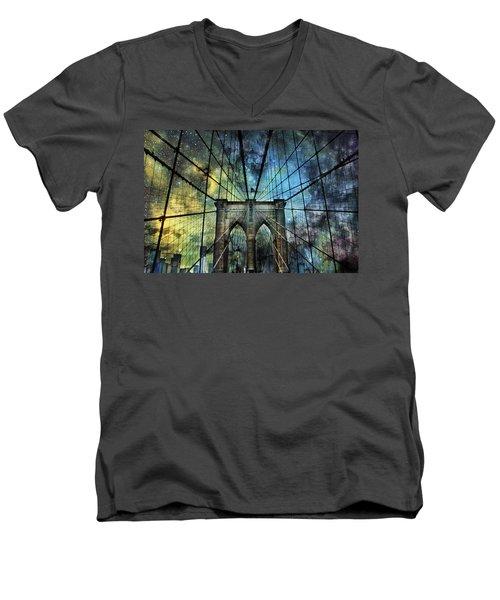 Universe And The Brooklyn Bridge Men's V-Neck T-Shirt