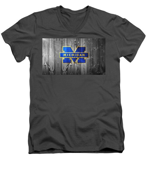 University Of Michigan Men's V-Neck T-Shirt by Dan Sproul