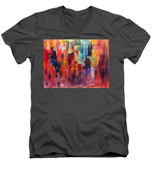 Men's V-Neck T-Shirt featuring the painting Untitled #4 by Jason Williamson
