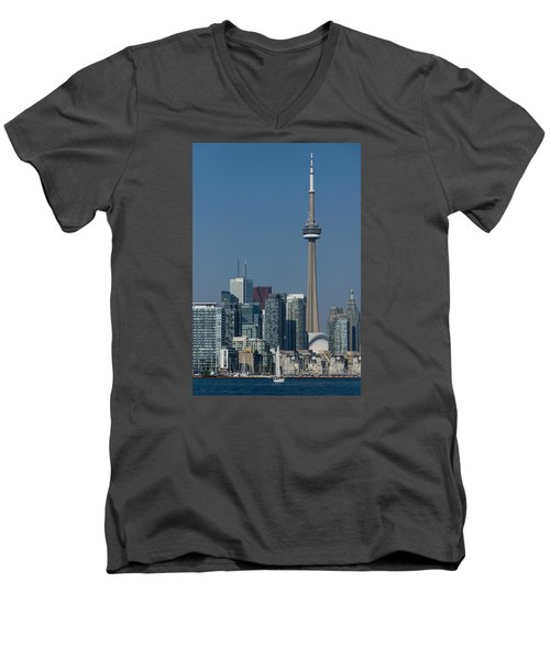 Up Close And Personal - Cn Tower Toronto Harbor And Skyline From A Boat Men's V-Neck T-Shirt by Georgia Mizuleva