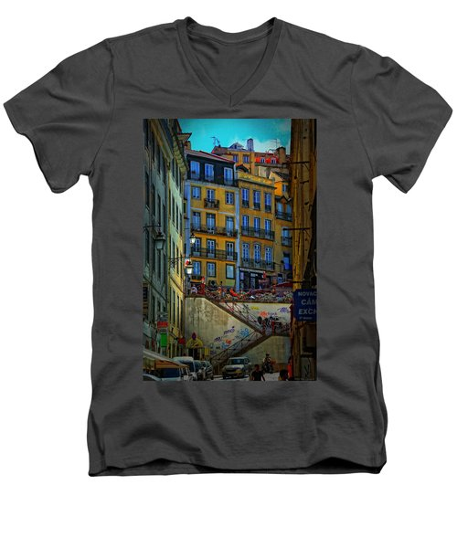 Up The Stairs - Lisbon Men's V-Neck T-Shirt by Mary Machare