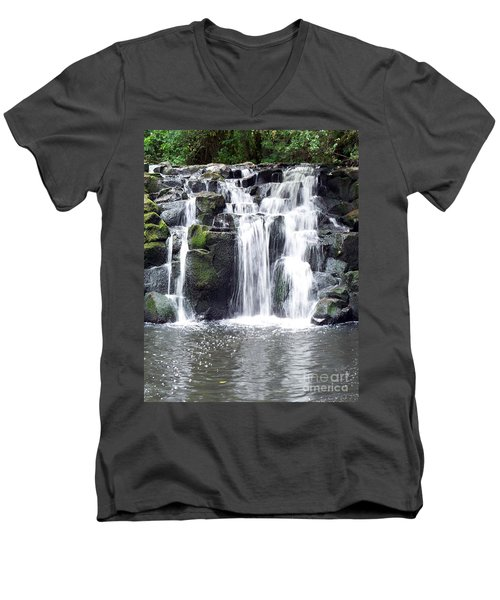 Men's V-Neck T-Shirt featuring the photograph Upper Beaver Falls by Chalet Roome-Rigdon