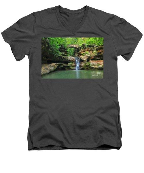 D10a-113 Upper Falls At Old Mans Cave Hocking Hills Photo Men's V-Neck T-Shirt