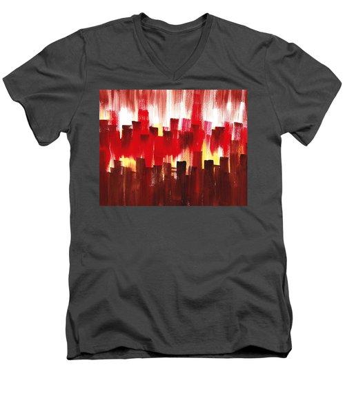 Urban Abstract Evening Lights Men's V-Neck T-Shirt by Irina Sztukowski