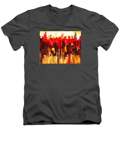 Urban Abstract Glowing City Men's V-Neck T-Shirt by Irina Sztukowski