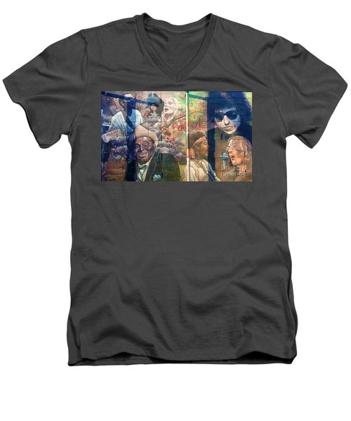 Men's V-Neck T-Shirt featuring the photograph Urban Graffiti 3 by Janice Westerberg