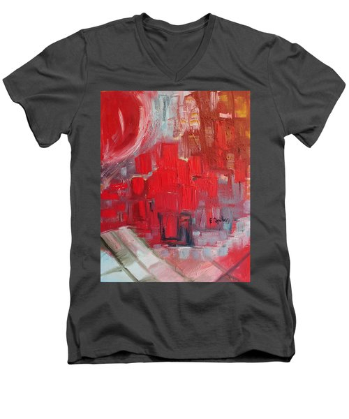 Men's V-Neck T-Shirt featuring the painting Urban View by Evelina Popilian