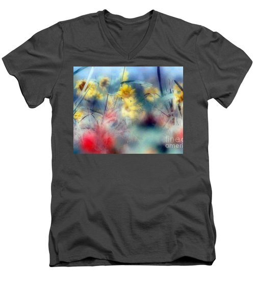 Men's V-Neck T-Shirt featuring the photograph Urban Wildflowers by Michael Hoard