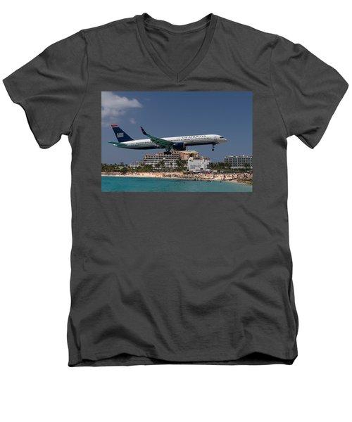 U S Airways At St Maarten Men's V-Neck T-Shirt